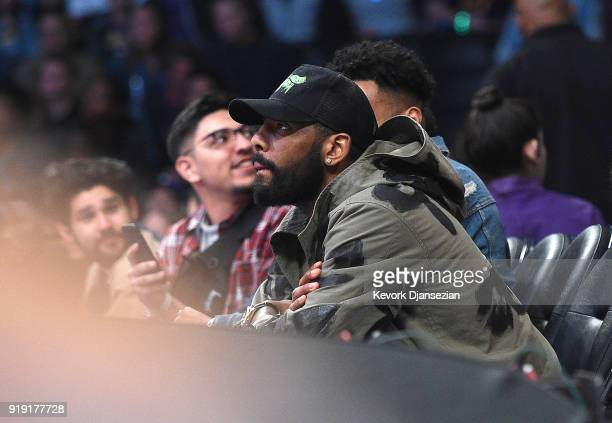 Kyrie Irving attends the 2018 Mountain Dew Kickstart Rising Stars Game at Staples Center on February 16 2018 in Los Angeles California