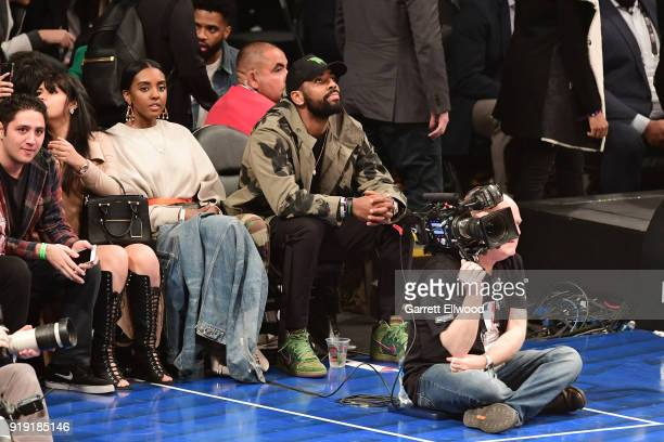 Kyrie Irving attends the Mountain Dew Kickstart Rising Stars Game during AllStar Friday Night as part of 2018 NBA AllStar Weekend at the STAPLES...