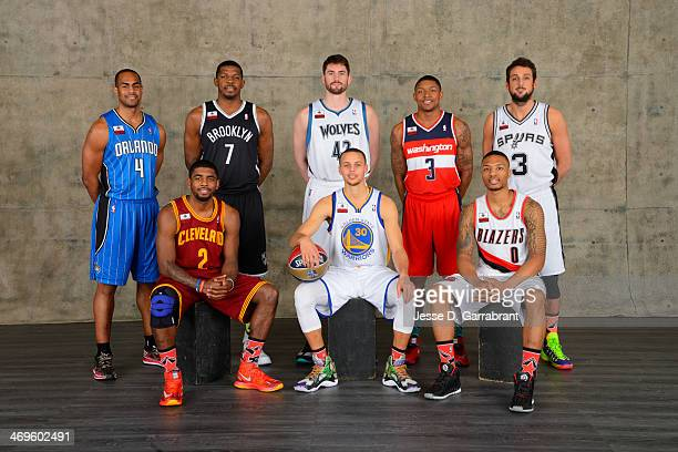 Kyrie Irving Bradley Beal Joe Johnson Aaron Afflalo Stephen Curry Marco Belinelli Kevin Love Damian Lillard of poses for a portrait prior to...
