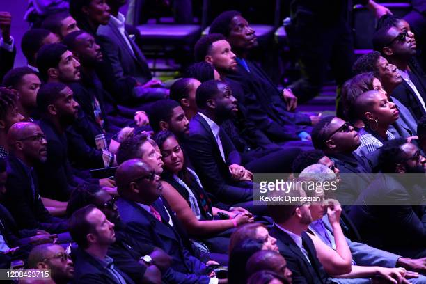 Kyrie Irving Draymond Green Steph Curry and AC Green attend The Celebration of Life for Kobe Gianna Bryant at Staples Center on February 24 2020 in...
