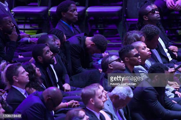 Kyrie Irving Draymond Green Stephen Curry AC Green Dwyane Wade and Russell Westbrook attend The Celebration of Life for Kobe Gianna Bryant at Staples...