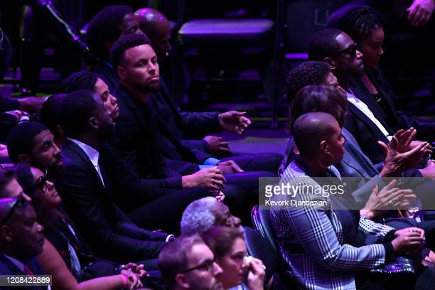 Kyrie Irving DrayStephen Curry during The Celebration of Life for Kobe Gianna Bryant at Staples Center on February 24 2020 in Los Angeles California