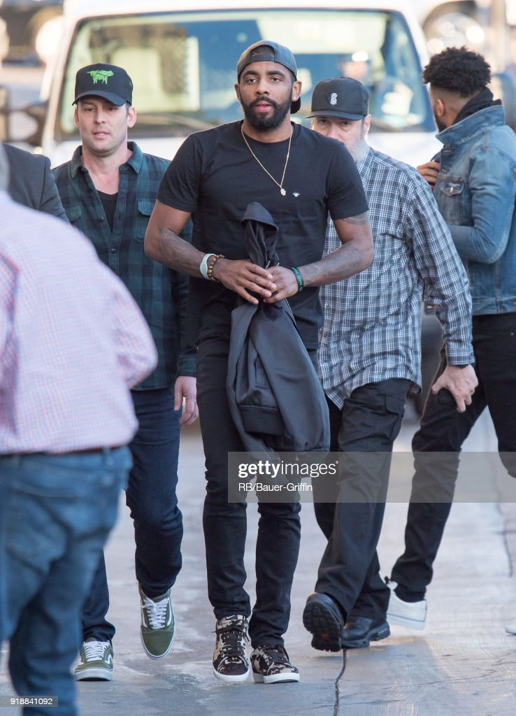 4881bd6269e Kyrie Irving is seen at  Jimmy Kimmel Live  on February 15