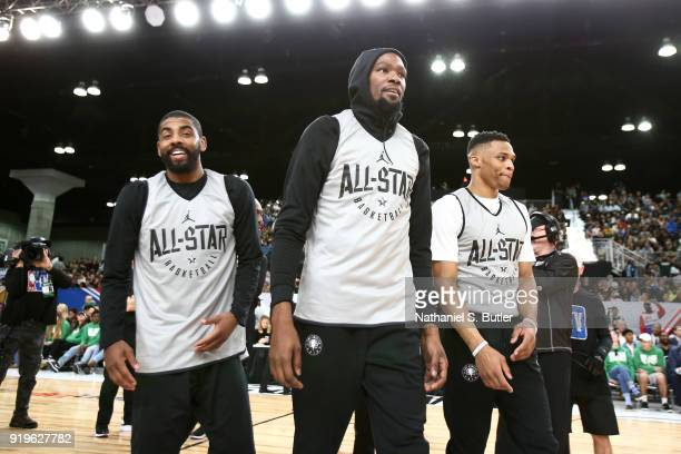 Kyrie Irving Kevin Durant and Russell Westbrook of Team LeBron participate in the NBA AllStar practice as part of the 2018 NBA AllStar Weekend on...