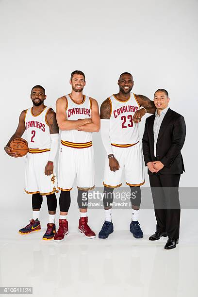 Kyrie Irving Kevin Love LeBron James and Tyronn Lue of the Cleveland Cavaliers poses for a portrait during 20162017 Cleveland Cavaliers Media Day at...