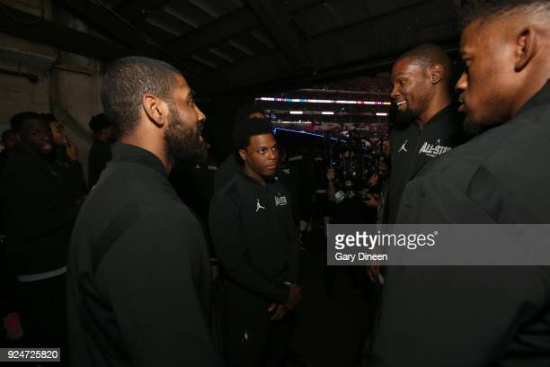 Kyrie Irving Kyle Lowry and Kevin Durant of team LeBron huddle prior tothe NBA AllStar Game as a part of 2018 NBA AllStar Weekend at STAPLES Center...