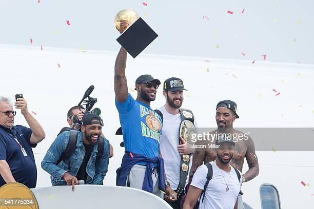 Kyrie Irving, LeBron James, Tristan Thompson, Kevin Love and J.R. Smith of the Cleveland Cavaliers return to Cleveland after wining the NBA...