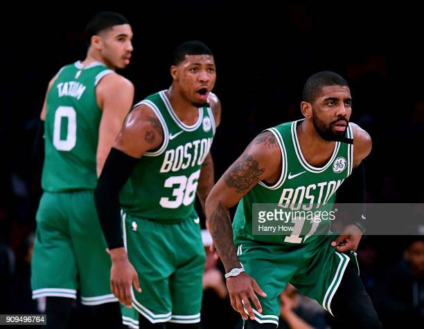 Kyrie Irving Marcus Smart and Jayson Tatum of the Boston Celtics get back on defense after during a 108107 Los Angeles Lakers win at Staples Center...