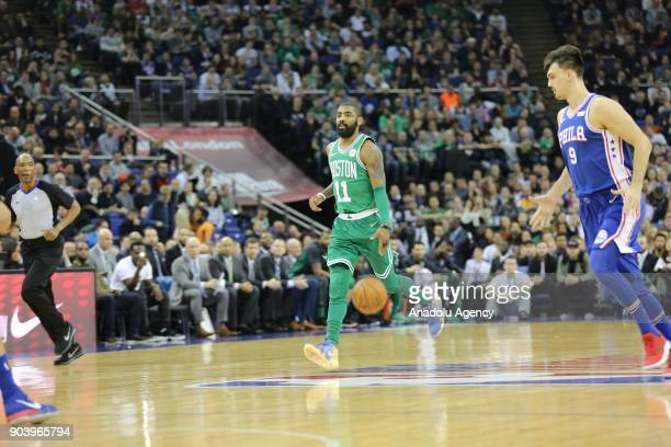 Kyrie Irving of Boston Celtics in action during the NBA game between Boston Celtics and Philadelphia 76ers at the O2 Arena in London England on...