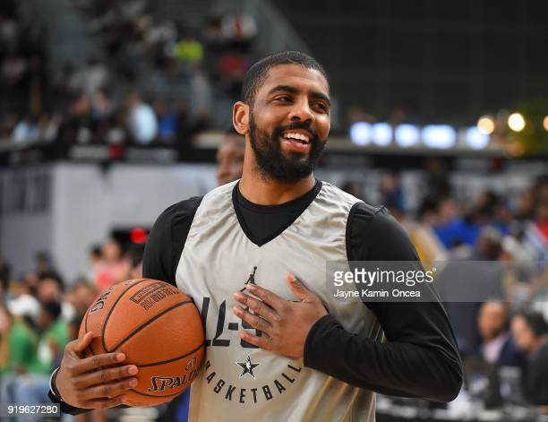 Kyrie Irving of Team LaBron practices for the 2018 NBA AllStar game at the Verizon Up Arena at LACC on February 17 2018 in Los Angeles California