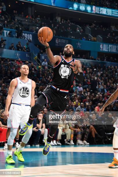 Kyrie Irving of Team LeBron goes to the basket against Team Giannis during the 2019 NBA AllStar Game on February 17 2019 at the Spectrum Center in...