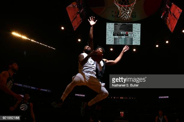 Kyrie Irving of Team LeBron goes to the basket against the against Team Stephen during the NBA AllStar Game as a part of 2018 NBA AllStar Weekend at...
