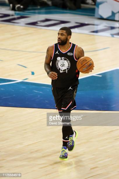 Kyrie Irving of Team LeBron handles the ball against Team Giannis during the 2019 NBA AllStar Game on February 17 2019 at the Spectrum Center in...