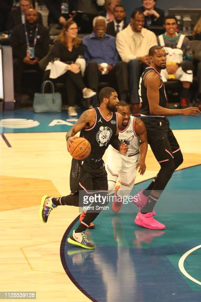 Kyrie Irving of Team LeBron handles the ball against Team LeBron during the 2019 NBA AllStar Game on February 17 2019 at the Spectrum Center in...