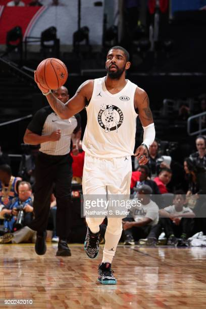 Kyrie Irving of Team LeBron handles the ball against Team Stephen during the NBA AllStar Game as a part of 2018 NBA AllStar Weekend at STAPLES Center...
