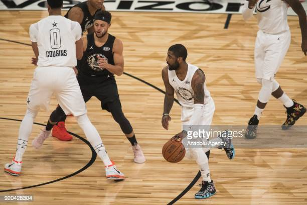 Kyrie Irving of Team Lebron in action during the first quarter during the 2018 NBA AllStar Game at the Staples Center in Los Angeles California on...