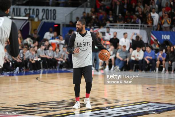 Kyrie Irving of Team LeBron participates in the NBA AllStar practice as part of the 2018 NBA AllStar Weekend on February 17 2018 at the Verizon Up...