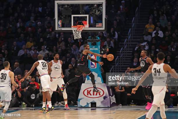 Kyrie Irving of Team LeBron passes the ball against Team Giannis during the 2019 NBA AllStar Game on February 17 2019 at the Spectrum Center in...