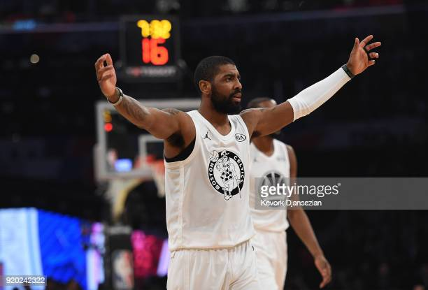 Kyrie Irving of Team LeBron reacts during the NBA AllStar Game 2018 at Staples Center on February 18 2018 in Los Angeles California