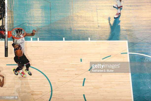 Kyrie Irving of Team LeBron shoots the ball against Team Giannis during the 2019 NBA AllStar Game on February 17 2019 at the Spectrum Center in...