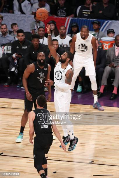 Kyrie Irving of Team LeBron shoots the ball against Team Stephen during the NBA AllStar Game as a part of 2018 NBA AllStar Weekend at STAPLES Center...