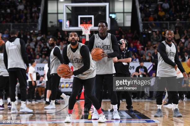 Kyrie Irving of Team LeBron shoots the ball during NBA AllStar Media Day Practice as part of 2018 NBA AllStar Weekend at the Los Angeles Convention...