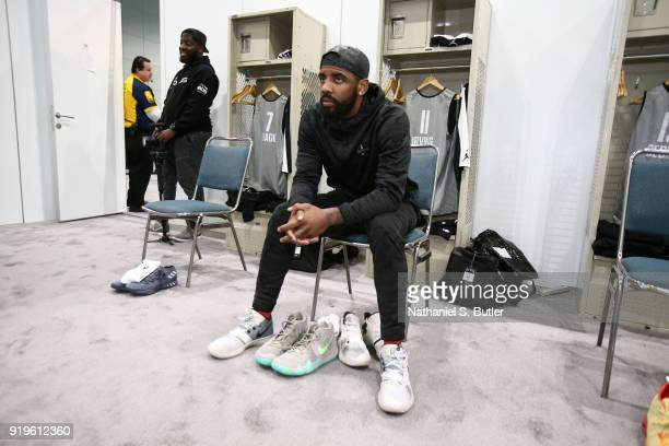 Kyrie Irving of Team LeBron sits in the locker room prior to the NBA AllStar practice as part of the 2018 NBA AllStar Weekend on February 17 2018 at...