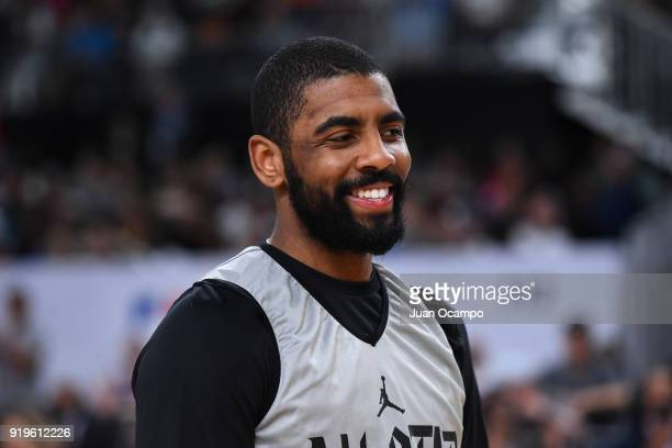 Kyrie Irving of Team LeBron smiles during NBA AllStar Media Day Practice as part of 2018 NBA AllStar Weekend at the Los Angeles Convention Center on...