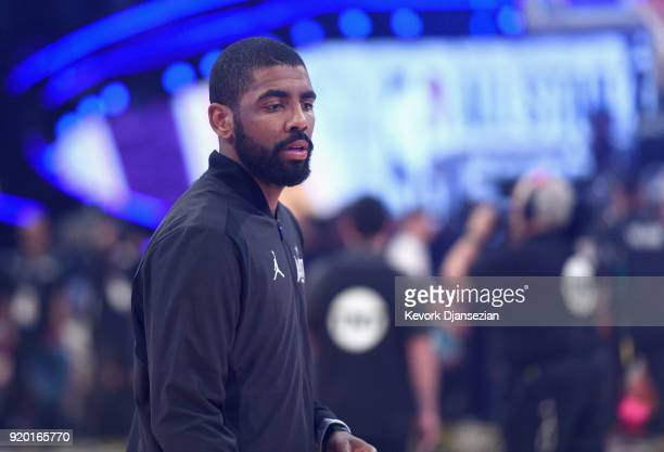 Kyrie Irving of Team Lebron warms up prior to the NBA AllStar Game 2018 at Staples Center on February 18 2018 in Los Angeles California