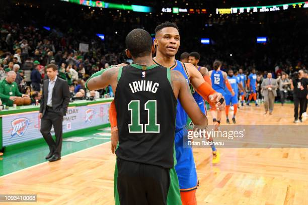 Kyrie Irving of the Boston Celtics and Russell Westbrook of the Oklahoma City Thunder shake hands after the game on February 3 2019 at the TD Garden...
