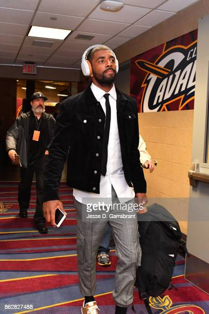 Kyrie Irving of the Boston Celtics arrives at the arena before the game against the Cleveland Cavaliers on October 17 2017 at Quicken Loans Arena in...