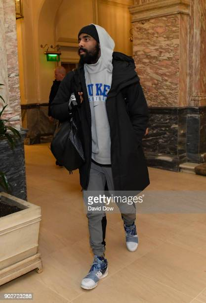 Kyrie Irving of the Boston Celtics arrives at the hotel as part of 2018 NBA London Game at the Landmark Hotel on January 8 2018 in London England...