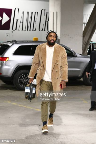 Kyrie Irving of the Boston Celtics arrives before the game against the Brooklyn Nets on November 14 2017 at Barclays Center in Brooklyn New York NOTE...
