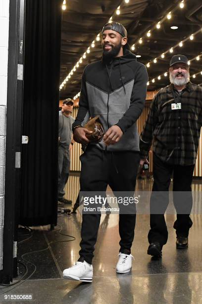 Kyrie Irving of the Boston Celtics arrives before the game against the LA Clippers on February 14 2018 at the TD Garden in Boston Massachusetts NOTE...