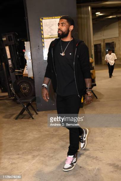 Kyrie Irving of the Boston Celtics arrives prior to a game against the Los Angeles Lakers on March 9 2019 at STAPLES Center in Los Angeles California...