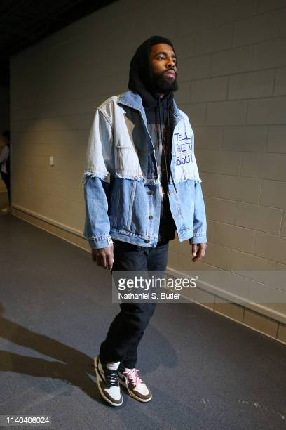 Kyrie Irving of the Boston Celtics arrives to the arena prior to Game Two of the Eastern Conference Semi Finals of the 2019 NBA Playoffs against the...