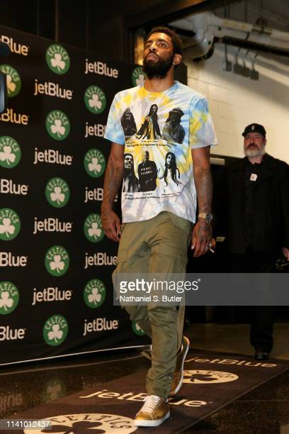 Kyrie Irving of the Boston Celtics arrives to the arena prior to Game Three of the Eastern Conference Semi Finals of the 2019 NBA Playoffs against...