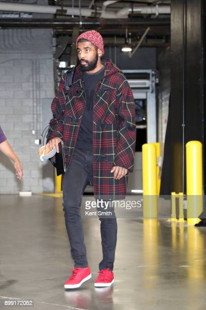 Kyrie Irving of the Boston Celtics arrives to the arena prior to the game against the Charlotte Hornets on December 27 2017 at Spectrum Center in...