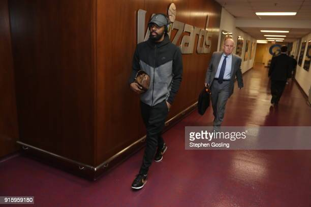 Kyrie Irving of the Boston Celtics arrives to the arena prior to the game against the Washington Wizards on February 8 2018 at Capital One Arena in...
