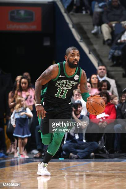 Kyrie Irving of the Boston Celtics brings the ball up court against the Memphis Grizzlies on December 16 2017 at FedEx Forum in Memphis Ohio NOTE TO...