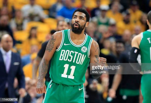 Kyrie Irving of the Boston Celtics celebrates against the Indiana Pacers in game four of the first round of the 2019 NBA Playoffs at Bankers Life...