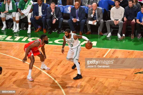 Kyrie Irving of the Boston Celtics controls the ball during the game against the Houston Rockets on December 28 2017 at the TD Garden in Boston...