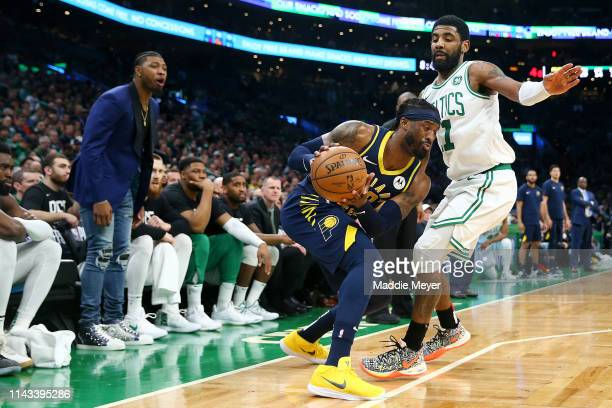 Kyrie Irving of the Boston Celtics defends Wesley Matthews of the Indiana Pacers during the third quarter of Game Two of Round One of the 2019 NBA...