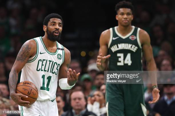 Kyrie Irving of the Boston Celtics disputes a foul called against the Celtics during the second half of Game 3 against the Milwaukee Bucks in the...