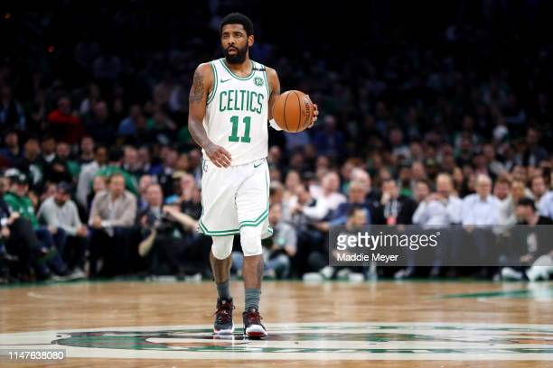 Kyrie Irving of the Boston Celtics dribbles against the Milwaukee Bucks during the second quarter of Game 4 of the Eastern Conference Semifinals...