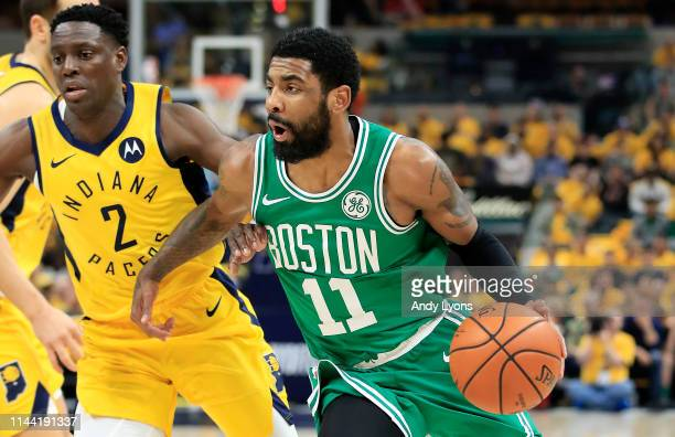 Kyrie Irving of the Boston Celtics dribbles the ball against the Indiana Pacers in game four of the first round of the 2019 NBA Playoffs at Bankers...