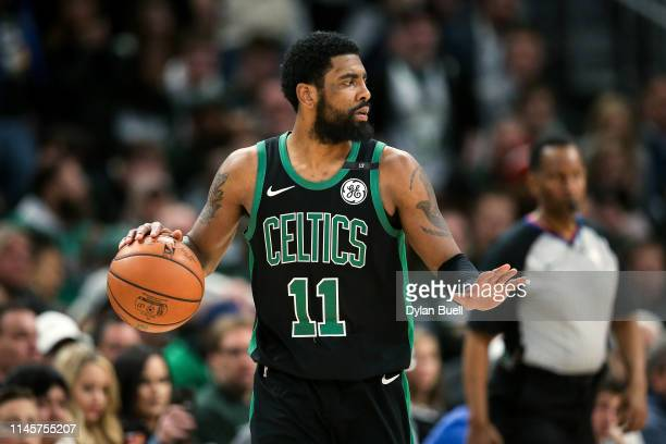 Kyrie Irving of the Boston Celtics dribbles the ball in the fourth quarter against the Milwaukee Bucks during Game One of Round Two of the 2019 NBA...