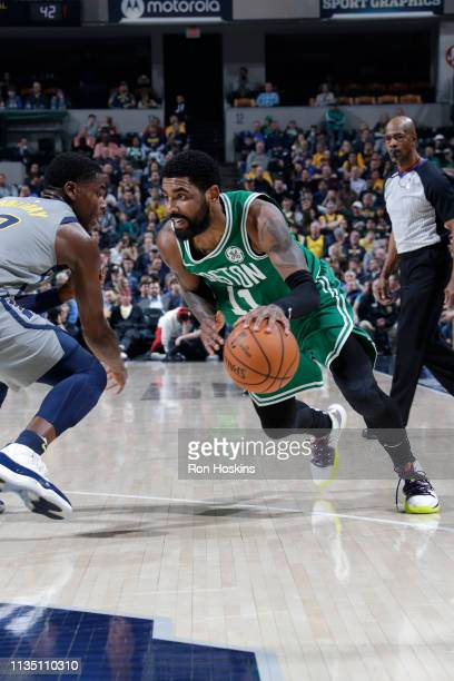 Kyrie Irving of the Boston Celtics drives to the basket against the Indiana Pacers on April 5 2019 at Bankers Life Fieldhouse in Indianapolis Indiana...