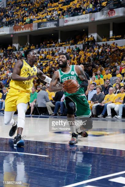 Kyrie Irving of the Boston Celtics drives to the basket against the Indiana Pacers during Game Four of Round One of the 2019 NBA Playoffs on April 21...