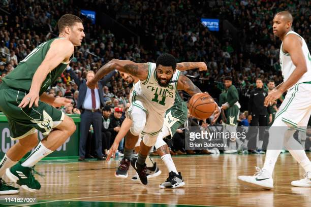 Kyrie Irving of the Boston Celtics drives to the basket against the Milwaukee Bucks during Game Four of the Eastern Conference Semifinals of the 2019...